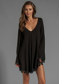 FOR LOVE & LEMONS Angelic Long Sleeve Mini Dress w/ Lace Trim in Black at Revolve Clothing - Free Shipping!
