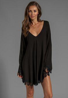 FOR LOVE & LEMONS Angelic Long Sleeve Mini Dress w/ Lace Trim in Black