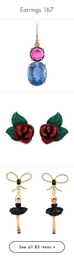 """Earrings 167"" by singlemom ❤ liked on Polyvore featuring jewelry, earrings, blue, pink, pink tourmaline jewelry, 18 karat gold earrings, blue tourmaline earrings, blue drop earrings, pink earrings and swarovski crystal earrings"