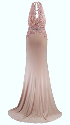 Designed with a gently flowing, yet form-fitting skirt, a tailored bodice, and gorgeous floral accents, this evening gown is a modern version of the soft, sophisticated look that is so reminiscent of something Grace Kelly would wear.