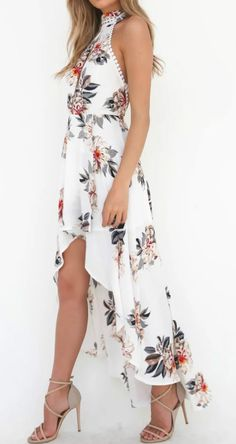 Halter Backless Floral Printed High Low Dress