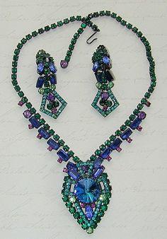 Juliana D Geometric Art Deco Design Rhinestone Necklace and Earrings