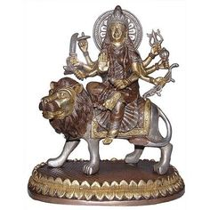 Amazon.com: Hindu Goddess Durga Seated On A Lion Collectible Brass Figurines from India: Furniture & Decor