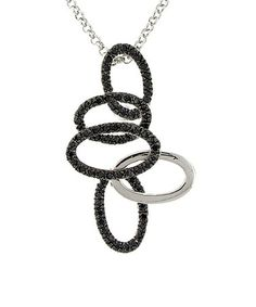 Loving this Black & White Cubic Zirconia Take 5 Pendant Necklace on #zulily! #zulilyfinds