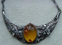 Art Nouveau Sterling Amber Nicklace