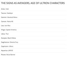 The Zodiac Book - The signs as avengers: age of ultron characters - Seite 1 - Wattpad