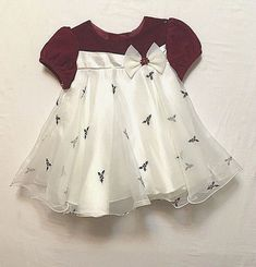 33e28e86a Bonnie Baby Girls Size 18 Months Holiday Dress Party White Red Velvet  Christmas  BonnieBaby
