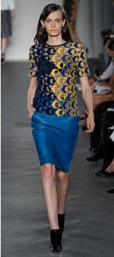 Derek Lam Blue Lace T-shirt and Ink Leather Skirt