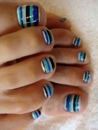 See more Attractive blue lining stylish nail polish designs
