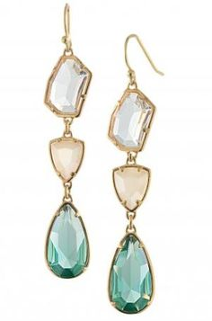 clear, peach, aqua drop earrings