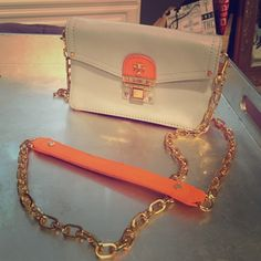 Tory Burch envelop bag Blue and orange 4x6 with cross body gold chain with credit card slots inside Tory Burch Bags Mini Bags