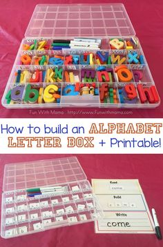 How to create an alphabet box for kids that is wonderful for learning spelling, teaching toddlers alphabet sounds and works as a wonderful reading and writing tool.