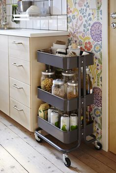 I love IKEA! Their units seem to be asking to hack them, and today I'd like to share some ideas for IKEA Raskog kitchen cart and ways to use it. Raskog Ikea, Small Kitchen Organization, Home Organization, Organizing Ideas, Baking Organization, Kitchen Decor, Kitchen Design, Kitchen Pantry, Kitchen Hacks