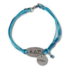 Alpha Delta Pi Sisters Bracelet double charm. Greek Letters with Sisters charm and bead. One size fits most.