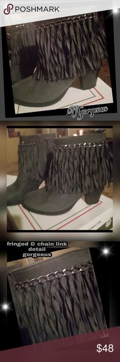 New Pierre Dumas Gray fringe ankle boots Brand New in box , Gorgeous faux suede Gray boot combines city fashion with a western flair. It features an approximately 3-inch heel, chain accents, fringe and side zippers for easy on-off.  It is a must have for any fashion lover! Pierre Dumas Shoes Ankle Boots & Booties