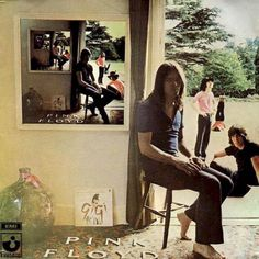 Ummagumma 1969  A mess of an album, a live disc together with a disc divided into four solo half-sides, Ummagumma has a silly name but an iconic cover - the four members of Pink Floyd in various locations near the back door of a house, with a frame on the wall housing the exact same picture except with the four members in different positions and with the frame on that smaller wall containing a third nested picture with the four in again a different position, etc.