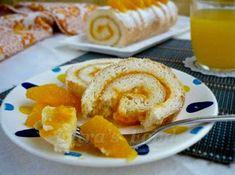 Orange Swiss Roll Cake from egg white / Bolu gulung dari putih telur Turkish Recipes, Egg Whites, Good Food, Rolls, Eggs, Favorite Recipes, Orange, Breakfast, Cake