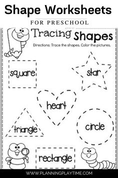 Trace & Color each Shape - Preschool Shape Worksheets