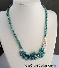 Freeform micro macrame necklace by Sherri Stokey