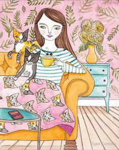 Movie Night With the Cat Folk Art Giclee Print 8x10 11x14