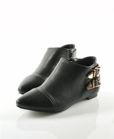 Black Ponit Ankle Boot with Pin Buckled Detail