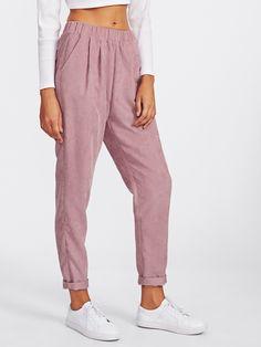Pantalones con bolsillo de solapa en la parte trasera -Spanish  SheIn(Sheinside) Pantalones 90eeb752b5b1