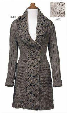 Gray crochet work pullover