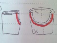 1組だけ表に返し、もう一組と中表に重ねて赤い部分を縫います。 そして端処理をします。