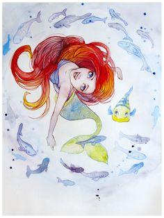 Super Drawing Disney Pixar The Little Mermaid Ideas Ariel Disney, Disney Princess Art, Disney Fan Art, Cute Disney, Disney Girls, Disney Princesses, Mermaid Disney, Walt Disney, Mermaid Sketch