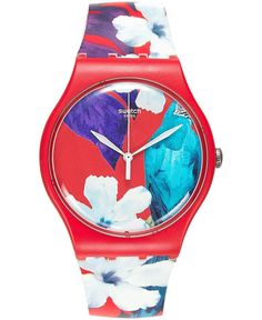 Swatch Unisex Swiss Mister Parrot Multicolor Print Silicone Strap Watch 41mm SUOR105