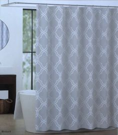 Grey is the new neutral!  Amazon.com - Shower Curtain Fabric Max Studio Home 72 X 72 White on Grey Moroccan Tile Design -