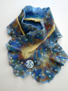 Ashore | Nuno-felt scarf On sale at the White Fox Gallery, Coldstream Nuno Felt Scarf, White Fox, Nuno Felting, Gallery, Clothes, Tall Clothing, Clothing Apparel, Clothing, Outfits