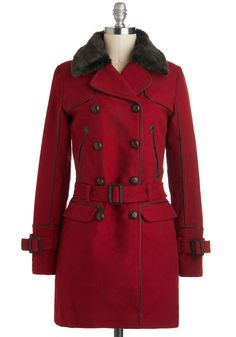 Going Rouge Coat - Long, Cotton, 4, Red, Solid, Buckles, Buttons, Double Breasted, Long Sleeve, Casual, Winter