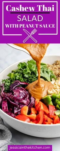 This salad is bound to be your new favorite dish! Serve Cashew Thai Salad for any lunch or light dinner. The peanut sauce is incredible too. Vegan Lunch Recipes, Vegan Lunches, Meatless Recipes, Vegetarian Dinners, Salad Recipes, Dinner Recipes, Healthy Recipes, Healthy Meal Prep, Healthy Salads