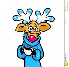 Beautiful funny deer cup of coffee cartoon illustration  character