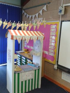 A super Ice-Cream Shop Role-Play classroom area photo contribution. Great ideas for your classroom! Cafe Role Play Area, Role Play Areas Eyfs, Classroom Displays, Classroom Themes, Ice Cream Parlour Role Play, Seaside Cafe, Reception Class, Book Corners, Dramatic Play