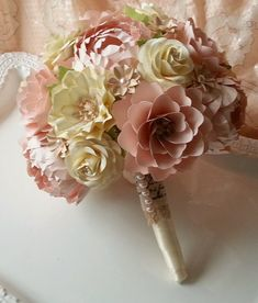 Paper Bouquet - Wedding Bouquet - Paper Flower Bouquet - Vintage Shabby Chic - Pink and Ivory - Custom Made