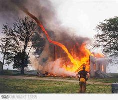 Just a tornado sucking a fire