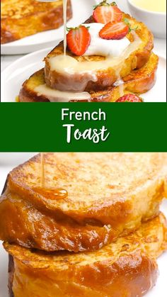 Who doesn't love french toast? Well this French Toast has 4 versions, bananas foster, churros, strawberries and cream, and classic. A tasty twist on a timeless classic! Awesome French Toast Recipe, Best French Toast, Brioche French Toast, Cinnamon French Toast, Cinnamon Rolls, Churro French Toast, Healthy French Toast, French Bread French Toast, Strawberry French Toast