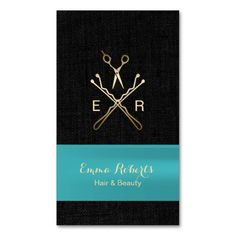 Teal Ribbon Faux Black Linen Hair Stylist Double-Sided Standard Business Cards (Pack Of 100)