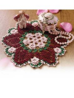 crocheted rose garden doily download pattern