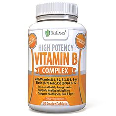 Vitamin B Complex 100 Supplement With Vitamin B12 B1 B2 B3 B4 B5 B6 B7 Biotin  B9 Folic Acid 400mcg  High Potency Capsules To Boost Energy Weight Loss Metabolism Skin Hair  Eyes * Check out this great product. (Note:Amazon affiliate link)