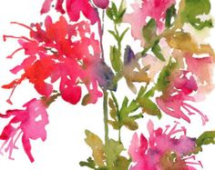 Fresh Pick Azaleas Watercolor, Print 8x10, Watercolor Flowers, Pink Flowers