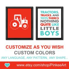 tractor baby boy nursery tractors trucks and toys quote toddlers wall decor boys room decor gift for baby boys playroom art boy wall art by PinkeeArt, $16.00