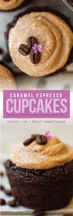 Caramel-frosted cupcakes with a caffeinated espresso kick! These rich indulgent cupcakes are vegan, gluten-free, oil-free, and sweetened with fruit. Espresso Cupcakes, Caramel Cupcakes, Coffee Cupcakes, Vegan Cupcake Recipes, Healthy Desserts, Vegan Recipes, Vegan Caramel, Vegan Treats, Cupcake Cakes