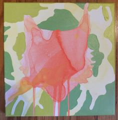 """12"""" x 12"""" Poured Acrylic Original Painting - Fox in Greens, Orange, and Yellow - For Sale on Etsy!"""