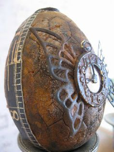 #Steampunk #Easter egg, rusted with butterfly and clock  We have no idea what's going to hatch out of this egg but we're excited to see it. We'll be even more excited if it turns out to be chocolate!