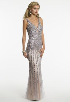 Long Sequin V-Neck Prom Dress by Camille La Vie