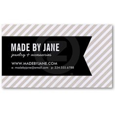 Linen Beige & Black Modern Stripes & Ribbon Business Cards