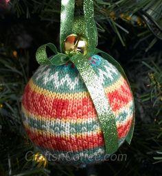 Easy DIY - turn old sweaters into beautiful Christmas Ornaments. CraftsnCoffee.com.